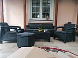 Комплект садовой мебели Allibert by Keter Corfu Set Max with Puff ( Cube with Cushion ) Graphite ( графит ), фото 7