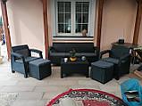 Комплект садовой мебели Allibert by Keter Corfu Set Max with Puff ( Cube with Cushion ) Graphite ( графит ), фото 6