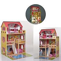 Домик для кукол деревянный с мебелью и светом 3 этажа MD 2671
