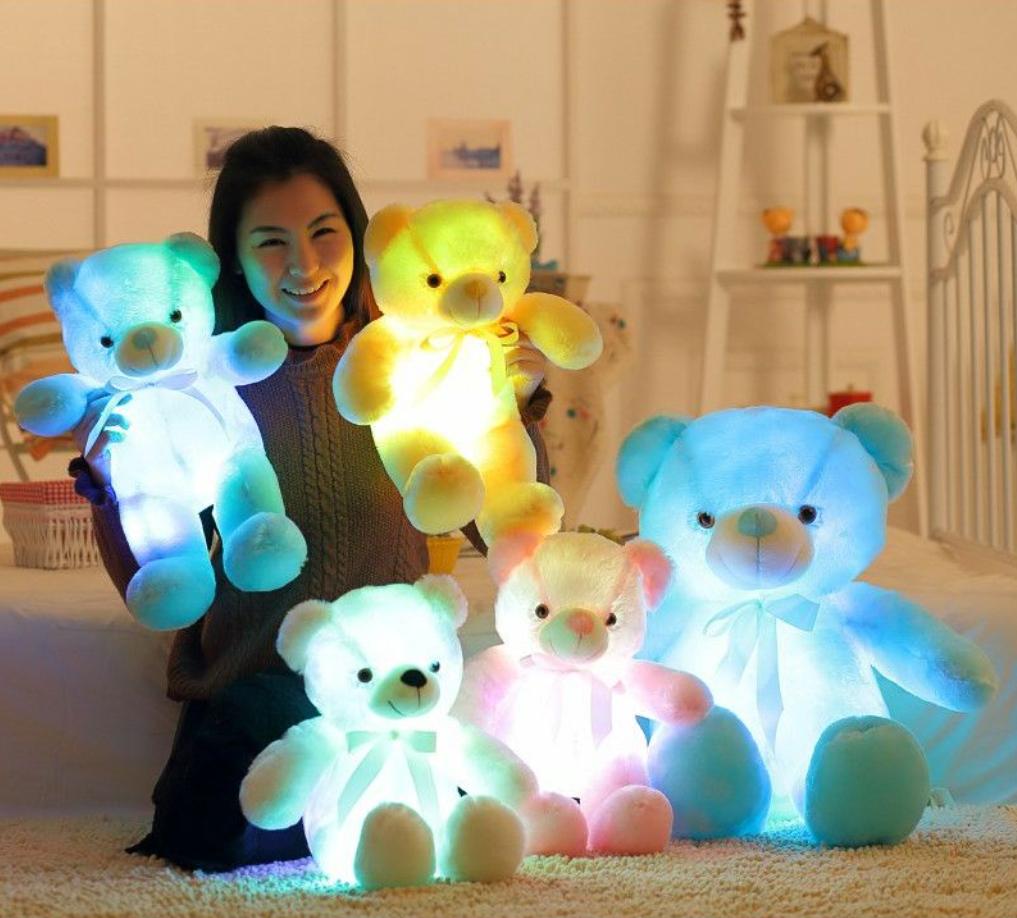 Плюшевые, светящиеся мишки 22 см Милые мягкие игрушки медвежата, со светодиодной подсветкой