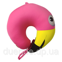 Подушка детская дорожная рогалик антистресс, полистерольные шарики 30*28 см / tp - 180519 Фламинго