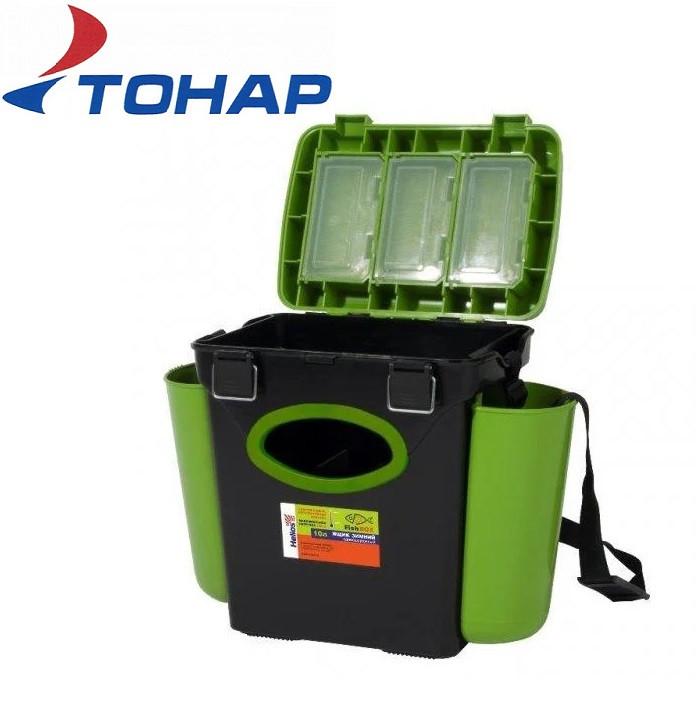 Ящик зимний односекционный Тонар Helios Fish Box 10л зелёный