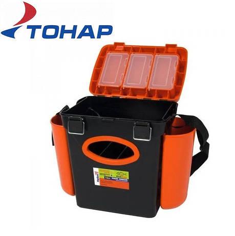 Ящик зимний односекционный Тонар Helios Fish Box 10л оранжевый, фото 2