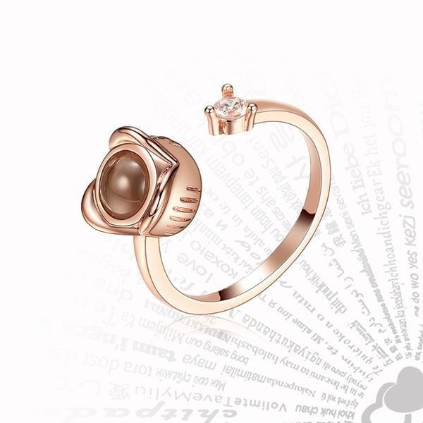 """Безразмерное кольцо с проекцией """"Я тебя люблю"""" на 100 языках мира (KZ-010)"""