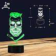 3D светодиодный светильник Barber Skull. LED светильник для барбершопа, 7 цветов, фото 4