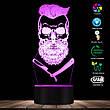 3D светодиодный светильник Barber Skull. LED светильник для барбершопа, 7 цветов, фото 3