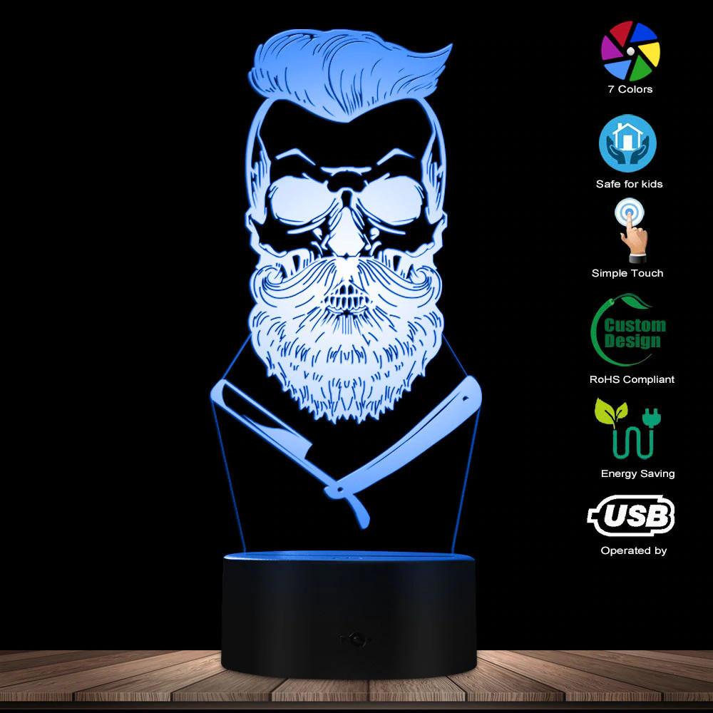 3D светодиодный светильник Barber Skull. LED светильник для барбершопа, 7 цветов
