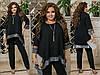Женский нарядный костюм: свободная блуза-туника с блестящим подолом и брюки, батал большие размеры, фото 2