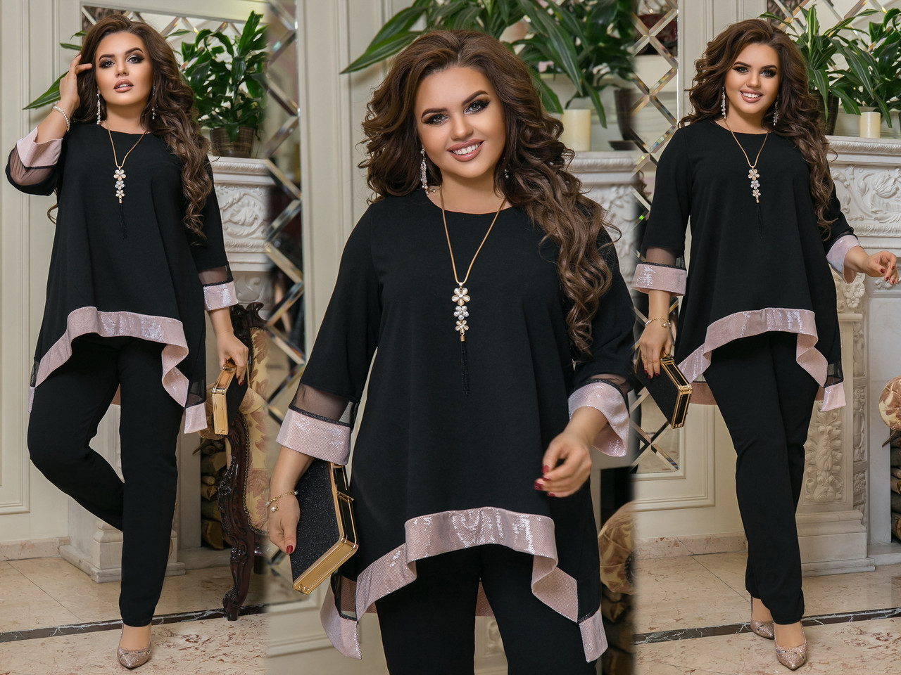 Женский нарядный костюм: свободная блуза-туника с блестящим подолом и брюки, батал большие размеры