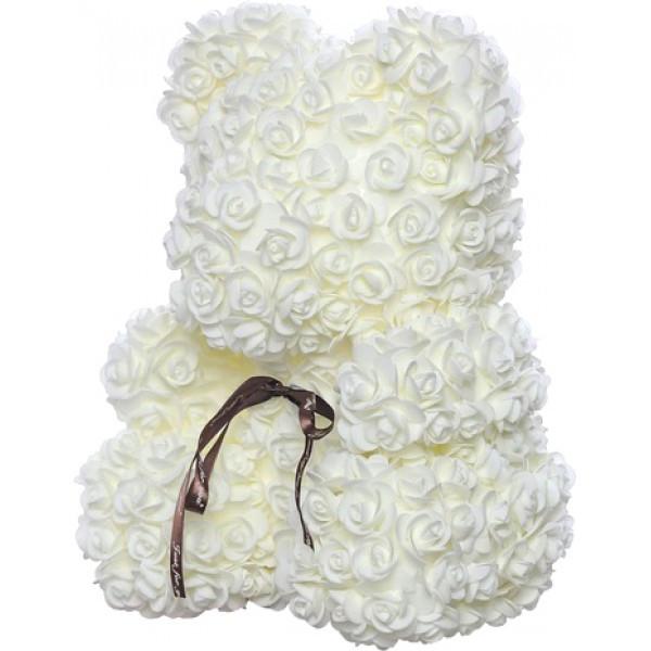 Мишка из роз 3D Белый 25 см с коробкой (BM-025)