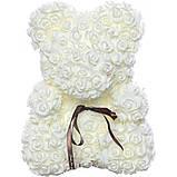 Мишка из роз 3D Белый 25 см с коробкой (BM-025), фото 2