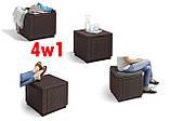 Комплект садовой мебели Allibert by Keter Corfu Set Max with Puff ( Cube with Cushion ) Brown ( коричневый ), фото 6