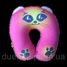 Подушка дорожная под шею рогалик Котик антистресс, полистерольные шарики, размер 35*35см / tp - 180116-2
