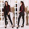 Женский деловой костюм двойка: классические брюки и длинный жилет без рукавов, норма и батал большие размеры, фото 5