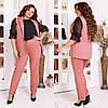 Женский деловой костюм двойка: классические брюки и длинный жилет без рукавов, норма и батал большие размеры, фото 8