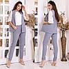 Женский деловой костюм двойка: классические брюки и длинный жилет без рукавов, норма и батал большие размеры, фото 3