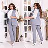 Жіночий діловий костюм двійка: класичні брюки і довгий жилет без рукавів, норма і батал великі розміри, фото 4