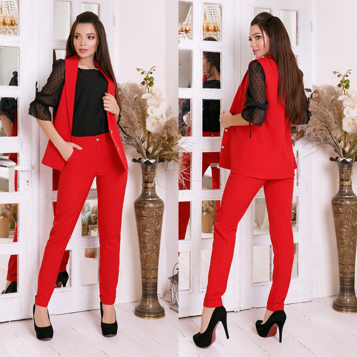 Жіночий діловий костюм двійка: класичні брюки і довгий жилет без рукавів, норма і батал великі розміри