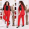 Жіночий діловий костюм двійка: класичні брюки і довгий жилет без рукавів, норма і батал великі розміри, фото 2