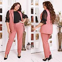 Женский деловой костюм двойка: классические брюки и длинный жилет без рукавов, норма и батал большие размеры