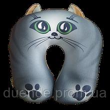 Антистрессовая дорожная подушка Котик серый, полистерольные шарики, размер 35*35см / tp - 180116-1