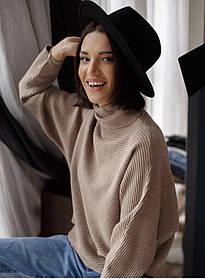 Свободная короткая кофта-свитер с высокой горловиной в 4 цветах в универсальном размере