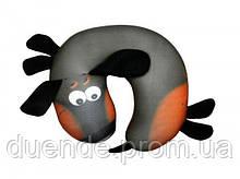 Антистрессовая дорожная подушка рогалик Такса, полистерольные шарики, размер 30*30см / tp - 18аст07ив