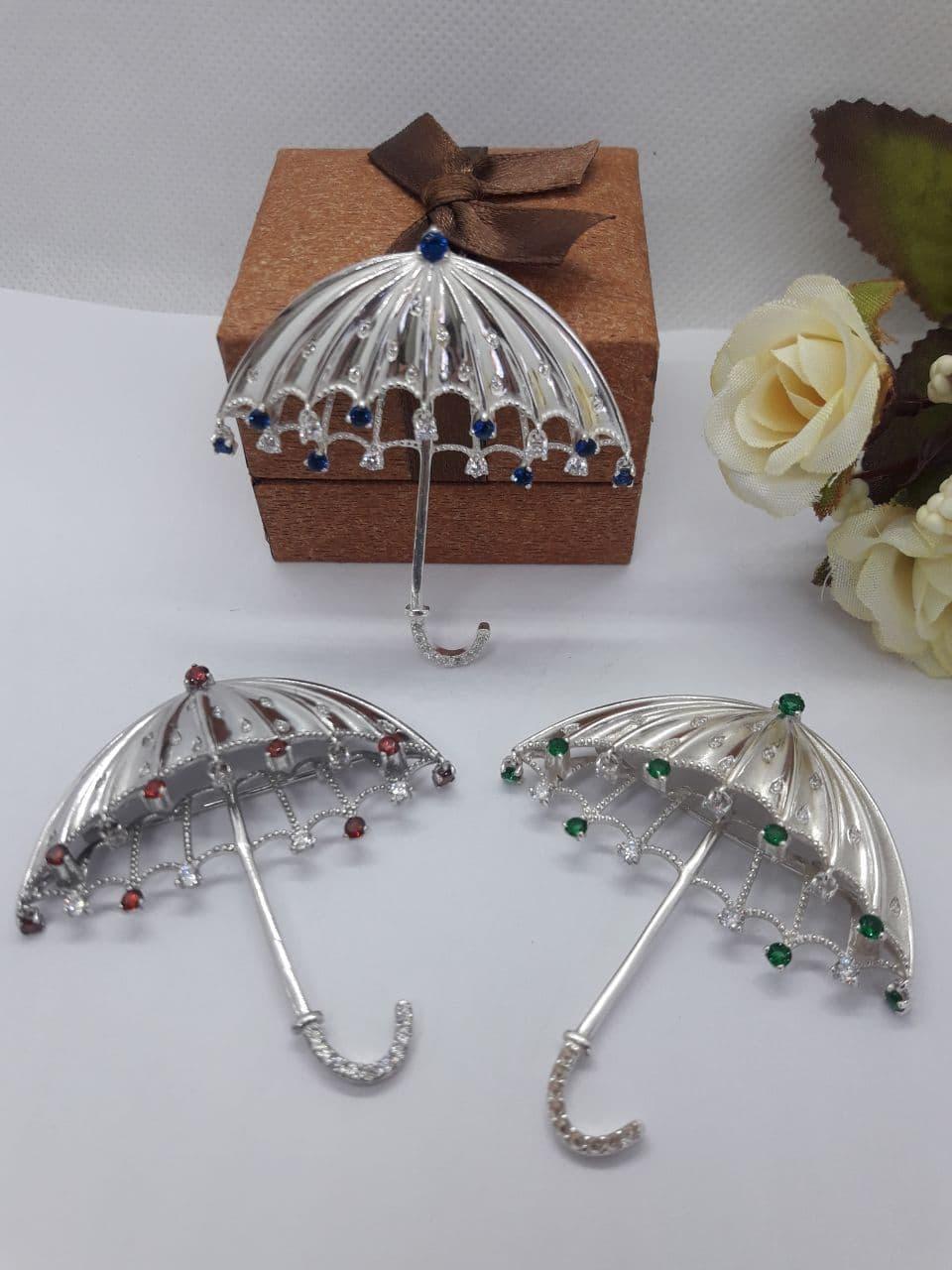 Серебрянная брошь Зонт от Ирида-В