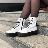 🔥 Ботинки женские высокие зимние Dr. Martens Jadon белые кожаные кожа теплые термо, фото 5