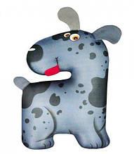 Подушка игрушка под голову антистресс, полистерольные шарики, размер 32*19 см / tp - 18аси06ив Темно-серый