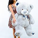 Плюшевые медведи: Плюшевый медвежонок Рикки 1.4 метра ( 140 см), Серый, фото 2