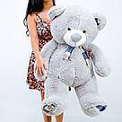 Плюшевые медведи: Плюшевый медвежонок Рикки 1.4 метра ( 140 см), Серый, фото 3
