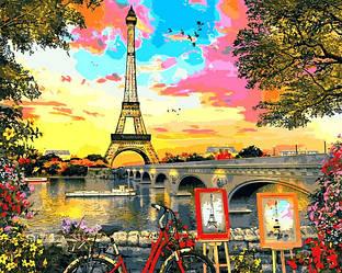 Картина по номерам Париж Закат в Париже 40х50см Babylon Turbo