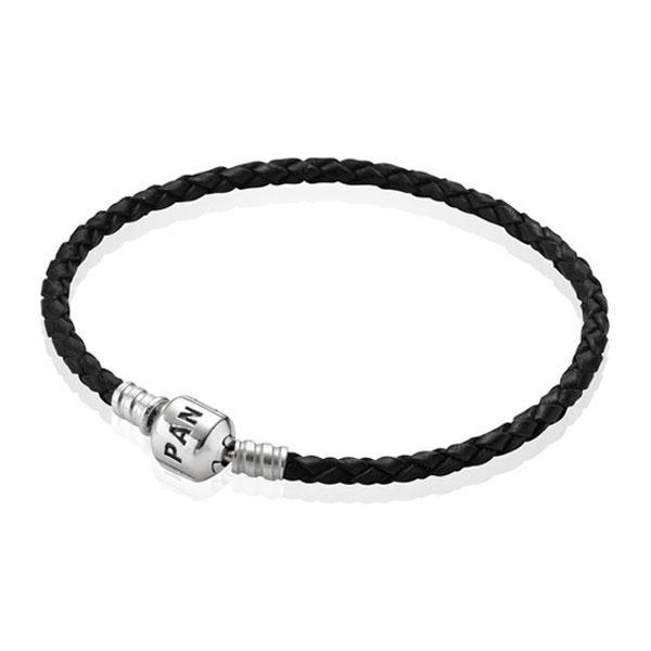 Пандора Одинарный кожаный браслет черный (17 см) Pandora 590705CBK-S