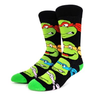 Прикольные высокие мужские носки с принтом Черепашки Ниндзя