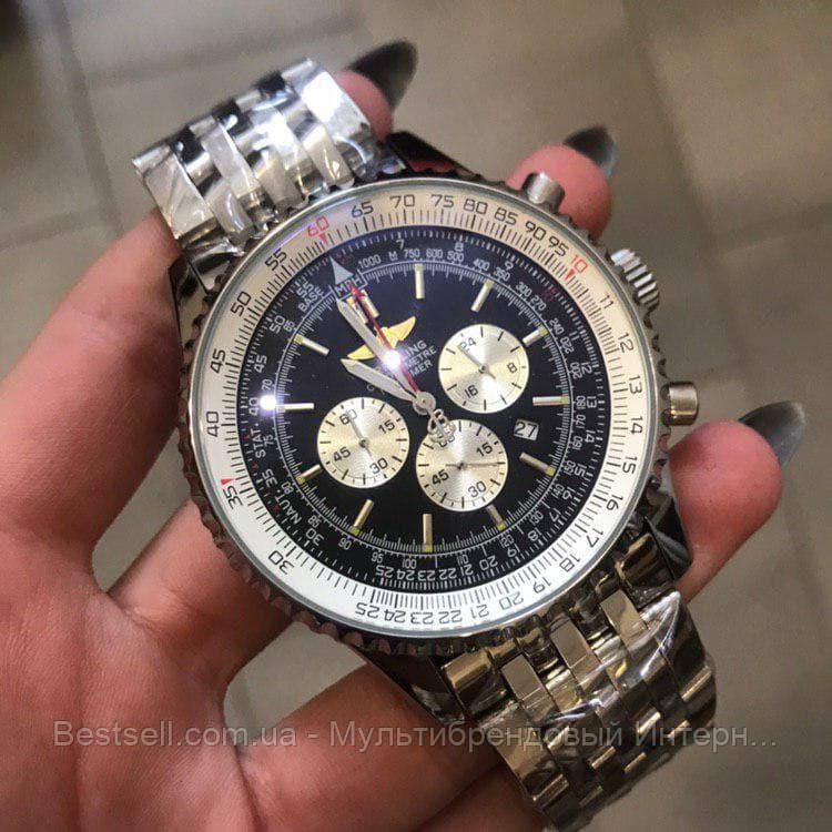 Часы мужские наручные Breitling A24322 Metal Silver-Black / реплика ААА класса