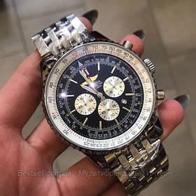 Годинники чоловічі наручні Breitling A24322 Metal Silver-Black / репліка ААА класу