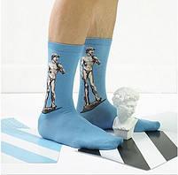 Прикольные высокие мужские носки с принтом Статуи Микеланджело, фото 2