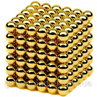 Головоломка нео куб конструктор в боксе Neocube-216 Магнитные шарики 5мм Золотой