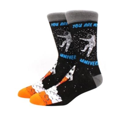 Прикольні високі чоловічі шкарпетки з космичным принтом