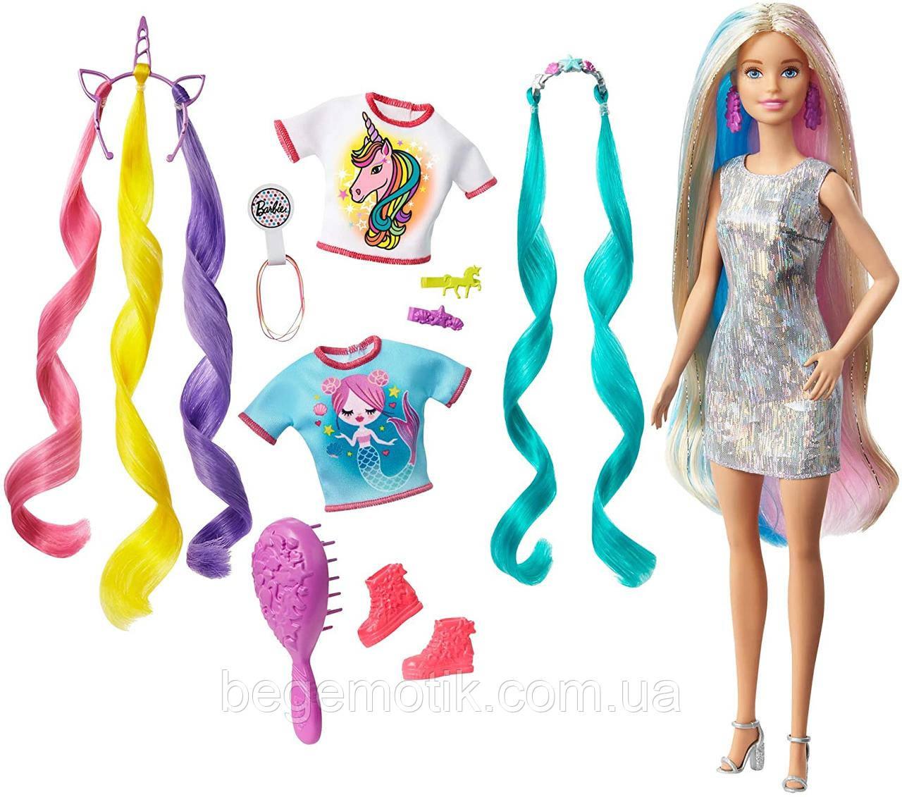 Barbie Кукла Барби - единорог и русалка Фантазийные образы - Barbie GHN04 Fantasy Hair блондинка