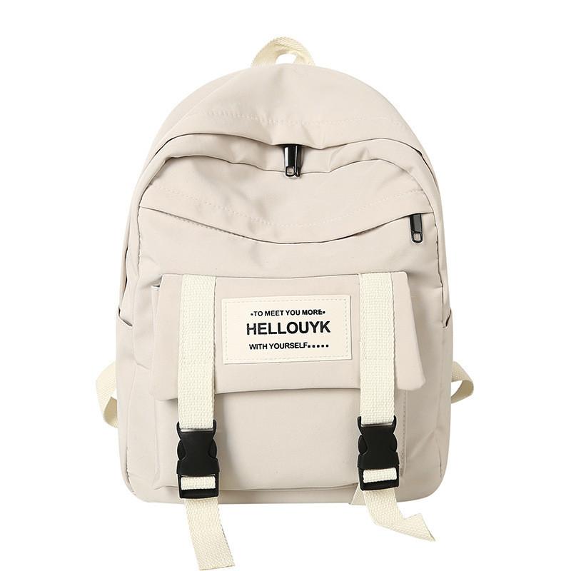 Рюкзак большой HELLO мужской женский школьный портфель бежевый светлый