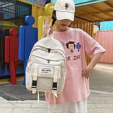 Рюкзак большой HELLO мужской женский школьный портфель бежевый светлый, фото 3