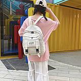 Рюкзак большой HELLO мужской женский школьный портфель бежевый светлый, фото 6