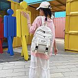 Рюкзак большой HELLO мужской женский школьный портфель бежевый светлый, фото 4