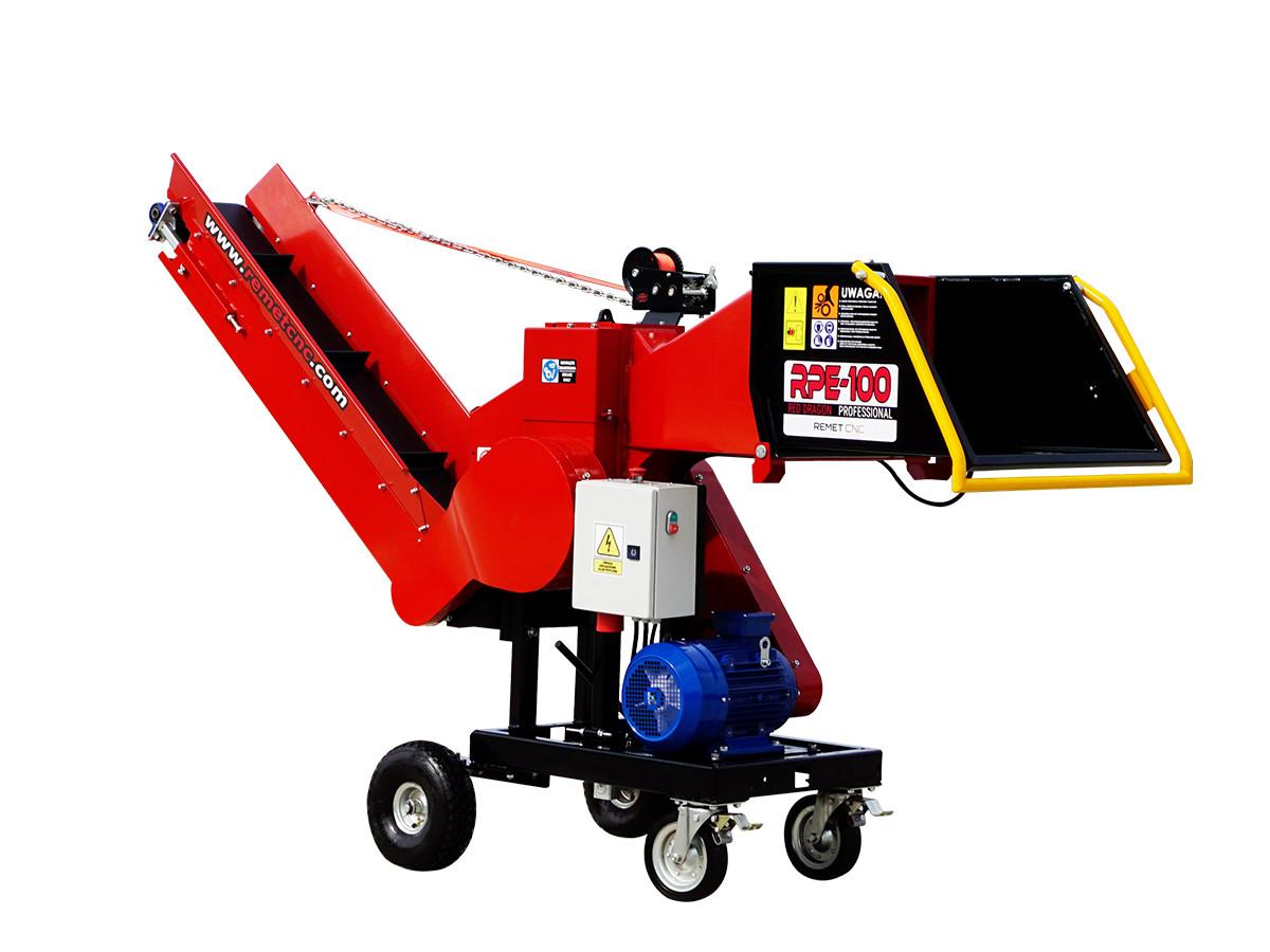 Измельчитель веток Remet RPE-100+транспортер 2,3 м  (80 мм,4 ножа, 7,5 кВт)