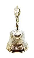Колокол чакровый бронзовый посеребренный (d-11.5 h-20см)(Bell Embose No.4 SILVER)
