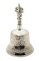 Колокол чакровый бронзовый посеребренный (d-9.5 h-15,5 см)(Bell Embose No.3 SILVER)