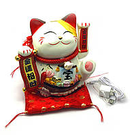 Кошка Манэки-нэко машущая лапой керамика (20х24х17 см)(1238/1239)