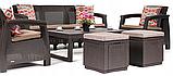 Комплект садовой мебели Allibert by Keter Corfu Set Lyon Max with Puff ( Cube ) Brown ( коричневый ), фото 8